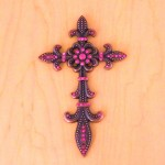 7003COP-PNK PINK CRYSTAL / COPPER WALL CROSS / W FDL DESIGN