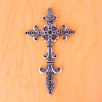 7003SIL-BLK BLACK CRYSTAL / SILVER WALL CROSS / W FDL DESIGN