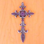 7003SIL-PUR PURPLE CRYSTAL / SILVER WALL CROSS / W FDL DESIGN