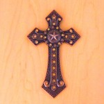 7007COP-AMB AMBER CRYSTAL / COPPER WALL CROSS / W STAR