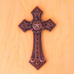 7007COP-BLK BLACK CRYSTAL / COPPER WALL CROSS / W STAR