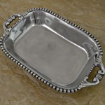 "52156-BEADED DISH W/HANDLE 14""X9""X2.25"""