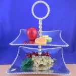 52261 - BEADED FRUIT STAND / SQUARE 2 TIER