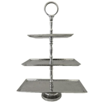 3523-RECT. 3 TIER HAMMERED FRUIT OR CUP CAKE STAND