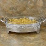 3512-HAMMERED/FDL OVAL CASSEROLE HOLDER W/GLASS