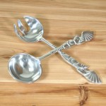 20564 - SERVER SPOON SET, 2 PCS, SEASHELL FISH DESIGN