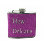 181097 - NEW ORLEANS PURPLE GLITTER FLASK  6OZ.