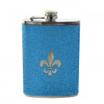 181100 - FDL LT. BLUE GLITTER FLASK  8OZ.