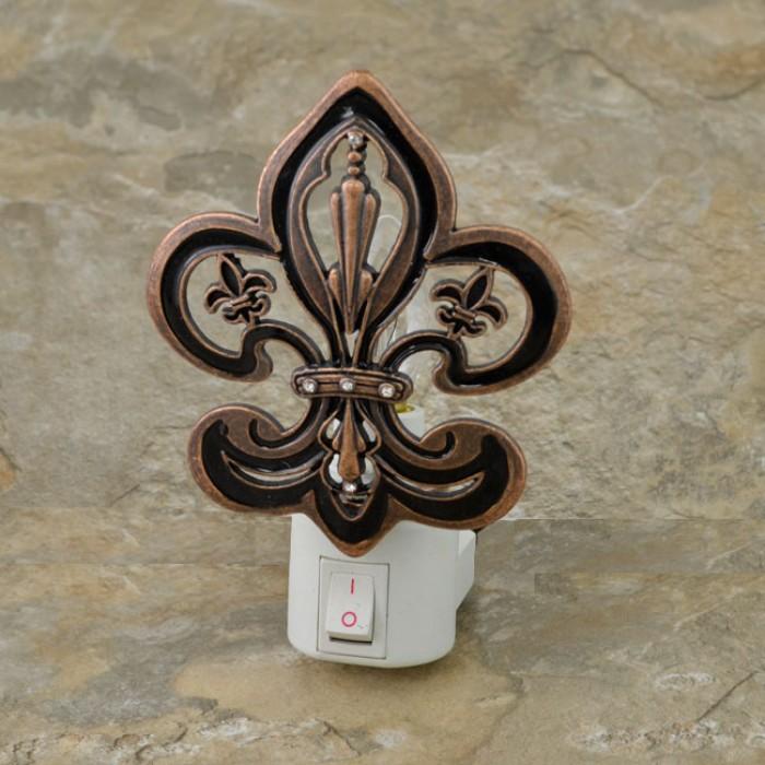 yx2002 fdl bronze color night light w fleur de lis