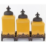 60003 MUSTARD CERAMIC LARGE CANISTER SET W / FDL COPPER LIDS & BASE