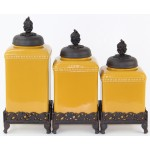 60003YL-GRAPE-COP CERAMIC LARGE YELLOW CANISTER SET W / GRAPE COPPER LIDS