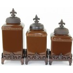 60003 BROWN CERAMIC LARGE CANISTER SET W / FDL COPPER LIDS & BASE