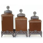 60003 BROWN CERAMIC LARGE CANISTER SET W / STAR COPPER LIDS & BASE