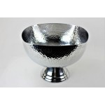 3555 - SQUARE HAMMERED PUNCH  BOWL W/PEDESTAL