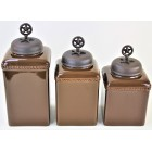 60003-BROWN 3PC. CERAMIC LARGECANISTER SET WITH LIDS