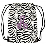 SUN225502-PK-A  ZEBRA BAG /W PINK INITIALS ( Click on Image for more available initials )