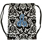 SUN225503-BL DAMASK DESIGN  BAG /W BLUE INITIALS ( Click on Image for more available initials )