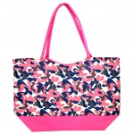 180783 - PINK / BLUE FLOWER DESIGN SHOPPING OR BEACH BAG