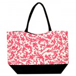 180784 - PINK / BLACK FLOWER DESIGN SHOPPING OR BEACH BAG