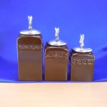 CERAMIC CANISTER SET BROWN W/ HORSE SILVER LIDS
