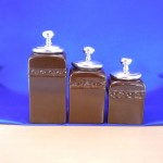 CERAMIC CANISTER SET BROWN W/ PLAIN KNOB SILVER LIDS