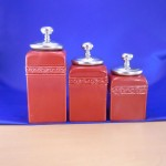 CERAMIC CANISTER SET RED W/ PLAIN KNOB SILVER LIDS