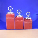 CERAMIC CANISTER SET RED W/ RING SILVER LIDS