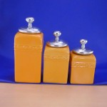 CERAMIC CANISTER SET YELLOW W/ PLAIN KNOB SILVER LIDS