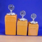 CERAMIC CANISTER SET YELLOW W / STAR SILVER LIDS