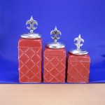 CERAMIC CANISTER SET ROPE RED W/ FDL SILVER LIDS