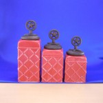 CERAMIC CANISTER SET ROPE RED W/ STAR COPPER LIDS