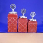 CERAMIC CANISTER SET ROPE RED W/ STAR SILVER LIDS