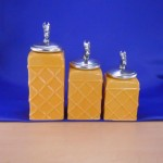 CERAMIC CANISTER SET ROPE YELLOW W/ HORSE SILVER LIDS