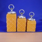 CERAMIC CANISTER SET ROPE YELLOW W/ RING SILVER LIDS