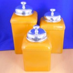 CERAMIC LARGE YELLOW CANISTER SET W / PLAIN KNOB LIDS