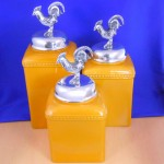 CERAMIC LARGE YELLOW CANISTER SET W / SILVER ROOSTER LIDS