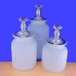 60004 FROSTED 3PC. CANISTER SET WITH LIDS