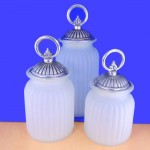 60004FRST-RING-SIL-LARGE ROUND FROSTED CANISTER SET W/ SILVER RING LIDS