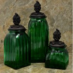 40074GREEN - SQUARE MEDIUM GREEN CANISTER SET / W COPPER GRAPES LIDS