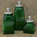 40074GREEN - SQUARE MEDIUM GREEN CANISTER SET / W SILVER PLAIN KNOB LIDS