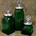 40074GREEN - SQUARE MEDIUM GREEN CANISTER SET / W SILVER STAR LIDS