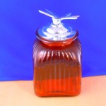 40002AMB-DRG-FLY Medium  red  Square Canister W / Dragon Fly Lids