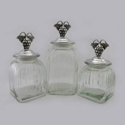 60004C-GRP1-SQUARE LARGE CLEAR CANISTER SET W/ GRAPE DESIGN 1 LIDS