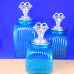 LARGE SQUARE OCEAN BLUE CANISTER SET W/ GRAPE SILVER LIDS