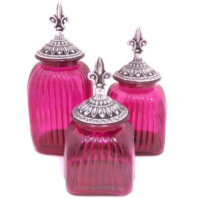 60004 FUCHSIA PURPLE-ANT-FDL-LARGE SQUARE FUCHSIA PURPLE CANISTER SET W/ ANTIQUE FDL LIDS