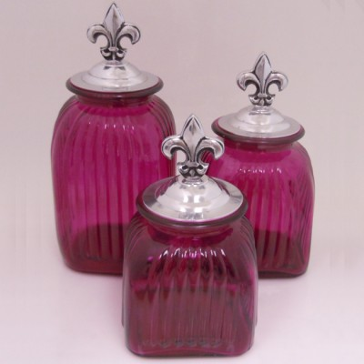 60004 FUCHSIA PURPLE FDL-SIL-LARGE SQUARE HOT PINK CANISTER SET W/ SILVER FDL LIDS