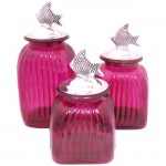 LARGE SQUARE HOT PINK CANISTER SET W/  FISH LIDS