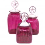 LARGE SQUARE HOT PINK CANISTER SET W/ SILVER STAR LIDS