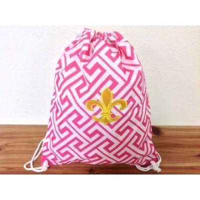 32630-PINK GREEK KEY DESIGN W/GOLD FDL DRAWSTRING BACK PACK BAG