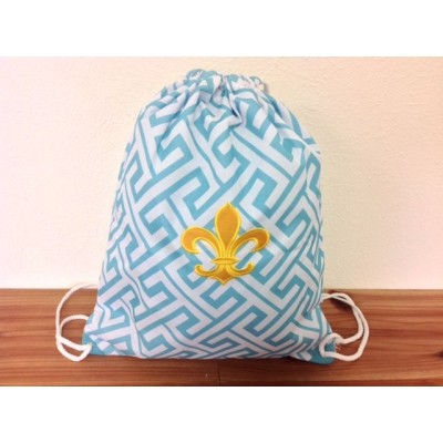 32631-AQUA GREEK KEY DESIGN W/GOLD FDL DRAWSTRING BACK PACK BAG